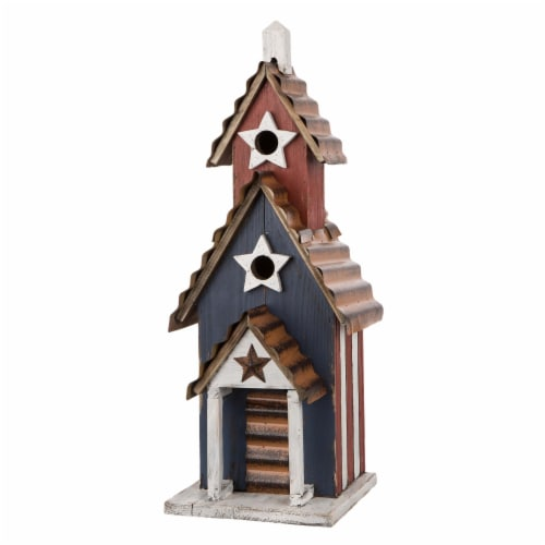 Glitzhome Oversized Wood & Rustic Metal Patriotic Birdhouse Perspective: front