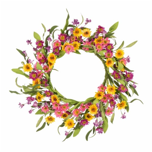 Glitzhome Multi-Colored Winter Artificial Chrysanthemum Wreath Perspective: front