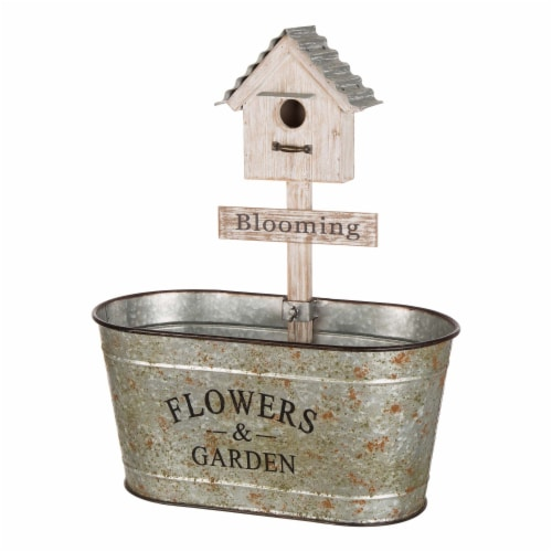 Glitzhome Galvanized Farmhouse Metal Planter with Bird House Perspective: front