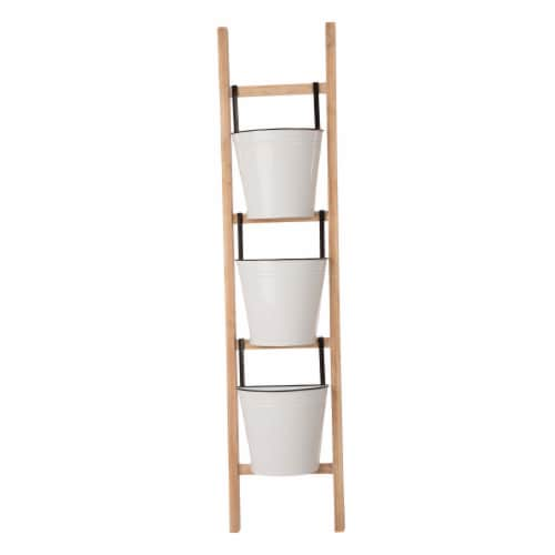 Glitzhome 3-Tier Leaning Ladder Planter Perspective: front