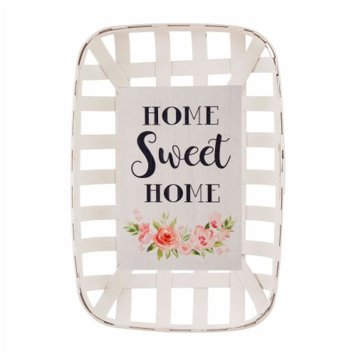 Glitzhome Wooden Tobacco Basket & Wooden Sign Wall Decoration Perspective: front