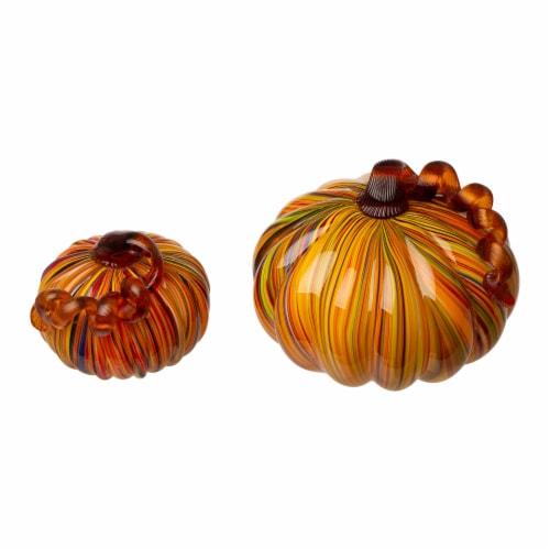 Glitzhome Multi-Striped Fall Glass Pumpkin Set Perspective: front