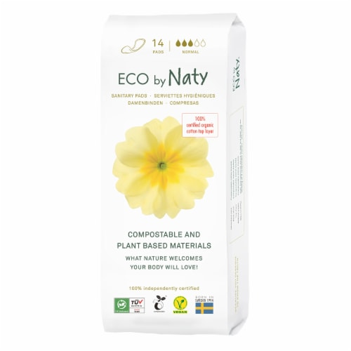 Eco by Naty Normal Compostable Sanitary Pads Perspective: front