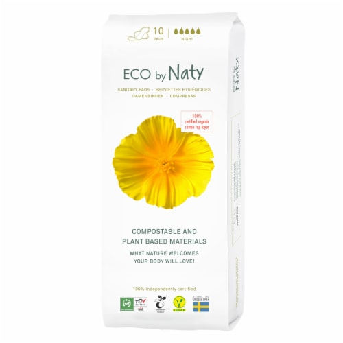 Eco by Naty Night Compostable Sanitary Pads Perspective: front