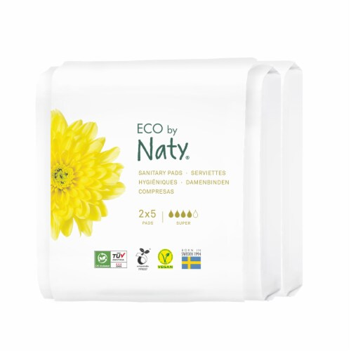 Eco by Naty Super Compostable Sanitary Pads Travel Pack Perspective: front