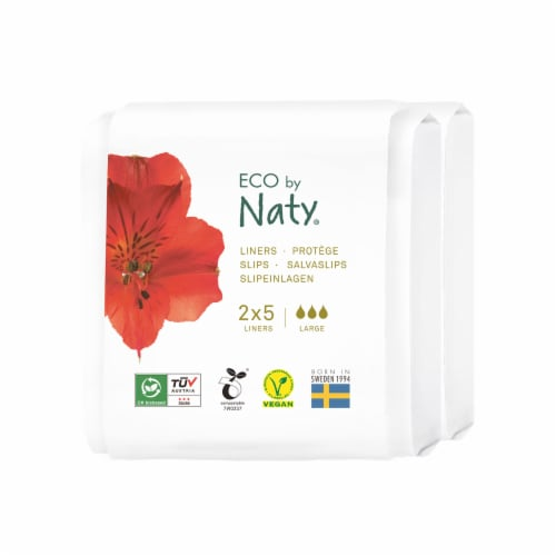 Eco by Naty Large Compostable Panty Liners Travel Pack Perspective: front