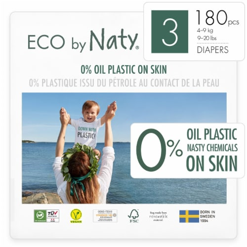 Eco by Naty Size 3 Disposable Diapers 180 Count Perspective: front
