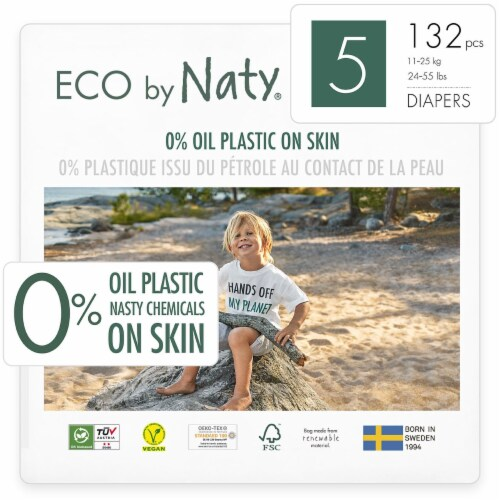 Eco by Naty Size 5 Disposable Diapers 132 Count Perspective: front