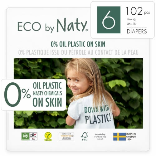 Eco by Naty Size 6 Disposable Diapers 102 Count Perspective: front