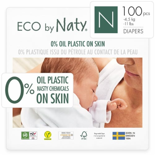 Eco by Naty Newborn Disposable Diapers 100 Count Perspective: front