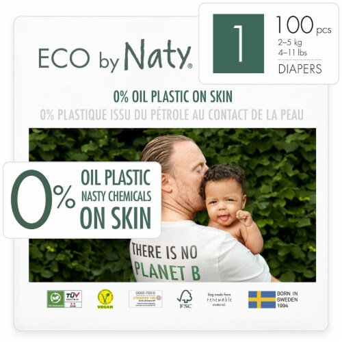 Eco by Naty Size 1 Disposable Diapers 100 Count Perspective: front