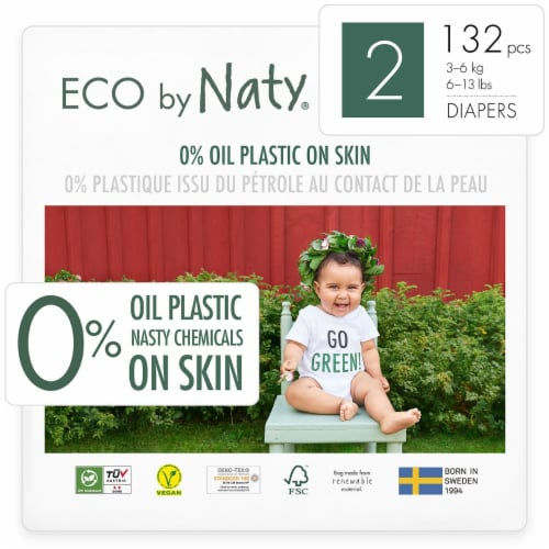 Eco by Naty Size 2 Disposable Diapers 132 Count Perspective: front