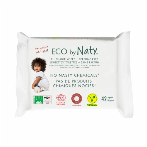 Eco by Naty Flushable Unscented Baby Wipes 504 Count Perspective: front