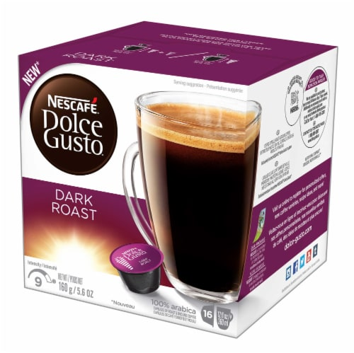 Nescafe Dolce Gusto Dark Roast Capsule, 16 count per pack -- 3 per case. Perspective: front