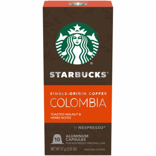 Starbucks by Nespresso Single-Origin Colombia Roast Single Serve Coffee Capsules 10 Count Perspective: front