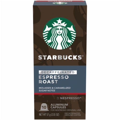 Starbucks by Nespresso Decaf Espresso Roast Ground Coffee Pods 10 Count Perspective: front