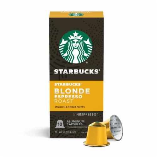 Starbucks Nespresso Blonde Espresso Roast Single Serve Coffee Capsules 10 Count Perspective: front