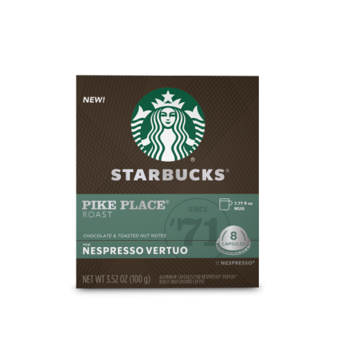 Starbucks Nespresso Pike Place Roast Single Serve Coffee Capsules Perspective: front