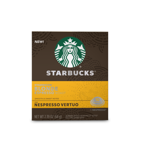 Starbucks Nespresso Blonde Espresso Roast Single Serve Coffee Capsules Perspective: front