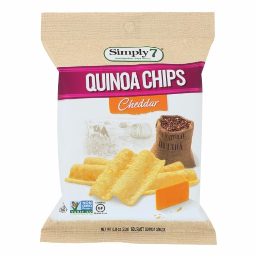Simply7 Quinoa Chips - Cheddar - Case of 24 - 0.8 oz. Perspective: front