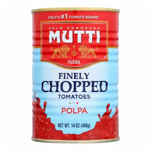 Mutti Finely Chopped Tomatoes Polpa - Case of 12 - 14 OZ Perspective: front