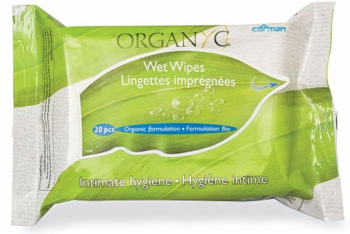 Organyc Intimate Hygiene Wet Wipes Perspective: front