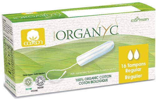 Organyc Regular Cotton without Applicator Tampons Perspective: front