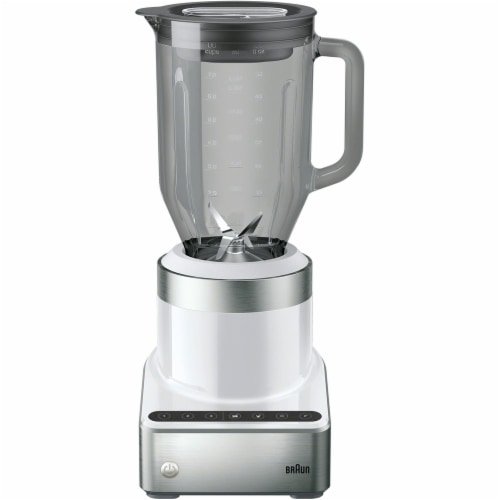 Braun PureMix Power Countertop Blender with Glass Blending Pitcher - Stainless Steel/White Perspective: front