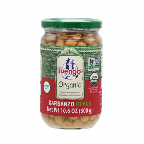 Organic  Garbanzo beans Jar. Pack 6 x 300g (10.6 Oz) Perspective: front