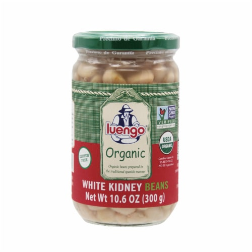 Organic White Kidney Beans Jar. Pack 6 x  300g (10.6 Oz.) Perspective: front