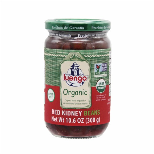 Organic  Red Kidney Beans Jar. Pack 6 x 300g (10.6 Oz.) Perspective: front