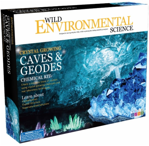 Wild Environmental Science Crystal Growing Caves & Geodes Chemical Kit Perspective: front