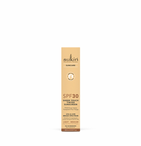 Sukin Suncare Light-Medium Sheer Touch Tinted Sunscreen SPF 30 Perspective: front