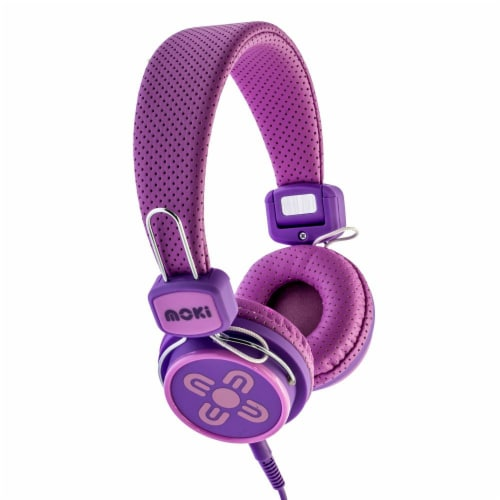 Moki Kid Safe Volume Limited Headphones - Pink and Purple Perspective: front