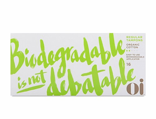 Oi Organic Initiative Organic Cotton Regular Cardboard Applicator Tampons Perspective: front