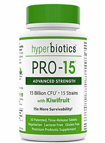 Hyperbiotics PRO-15 Advanced Strength Time Release Tablets Perspective: front