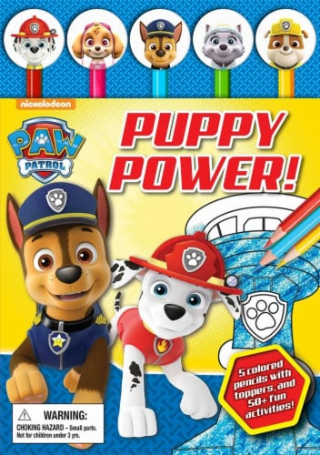 Paw Patrol Puppy Power! Pencil Toppers and Activity Book by Nickelodeon Paw Patrol Perspective: front