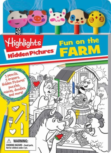 Hidden Pictures Fun on the Farm Colored Pencil Toppers and Activity Book by Highlights Perspective: front