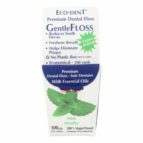 Eco-Dent GentleFloss Premium Dental Floss Mint - 100 Yards - Case of 6 Perspective: front
