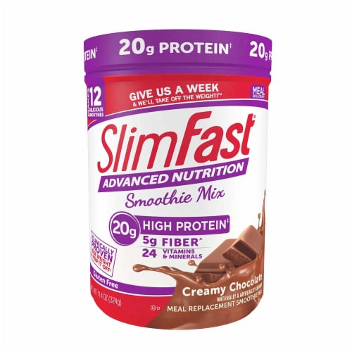 SlimFast Creamy Chocolate Advanced Smoothie Mix, 11.4 Ounce -- 2 per case Perspective: front