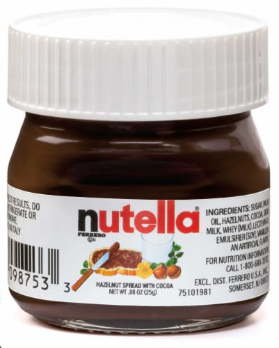Nutella Hazelnut Spread with Cocoa Glass Jar, .88 Ounce -- 64 per case. Perspective: front