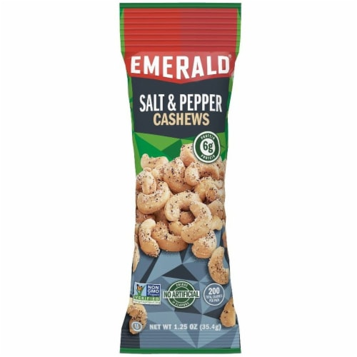 Emerald Sea Salt and Pepper Cashew, 1.25 Ounce -- 72 per case. Perspective: front