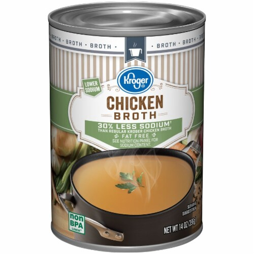 Kroger® Fat Free Lower Sodium Chicken Broth Case Sale Perspective: front