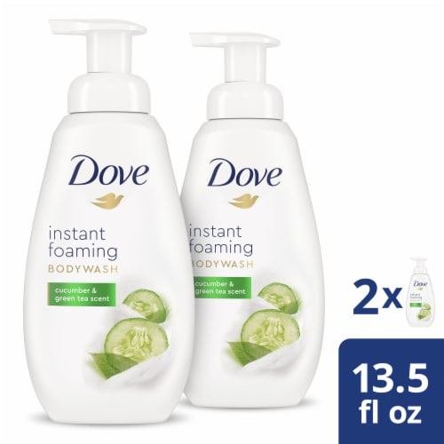 Dove Shower Foam Cucumber & Green Tea Foaming Body Wash 4 Count Perspective: front