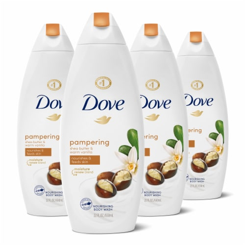 Dove Shea Butter with Warm Vanilla Body Wash (4 Pack) Perspective: front