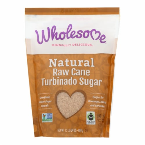 Wholesome Sweeteners Sugar - Natural Raw Cane - Turbinado - Fair Trade - 1.5 lb - case of 12 Perspective: front