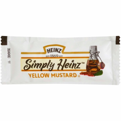 Simply Heinz Yellow Mustard, 5.5 Gram -- 200 per case. Perspective: front