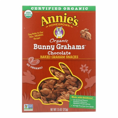 Annie'S Homegrown Bunny Grahams Chocolate - Case Of 12 - 7.5 Oz Perspective: front