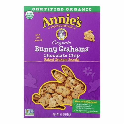 Annie'S Homegrown Bunny Grahams Chocolate Chip - Case Of 12 - 7.5 Oz Perspective: front