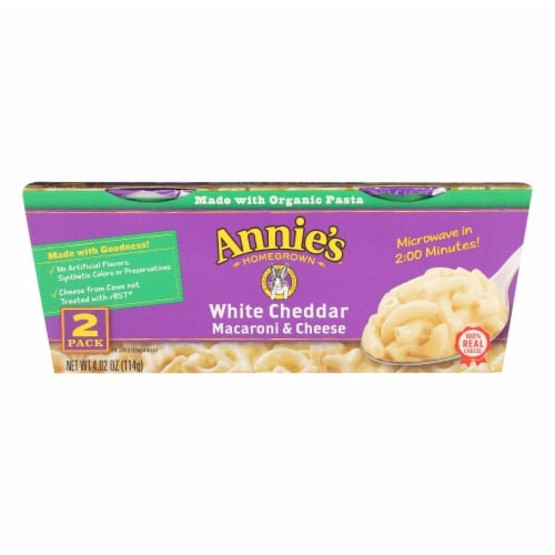 Annie's Homegrown White Cheddar Microwavable Macaroni and Cheese Cup - Case of 6 - 4.02 oz. Perspective: front